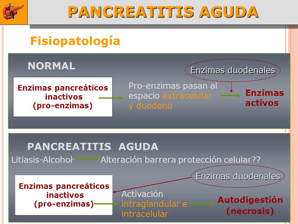 PANCREATITIS AGUDA Fisiopatología Enzimas pancreáticos inactivos (pro-enzimas) Pro-enzimas pasan al espacio extracelular y duodeno Enzimas activos Enzimas duodenales NORMAL Activación intraglandular e intracelular Autodigestión (necrosis) PANCREATITIS AGUDA Enzimas pancreáticos inactivos (pro-enzimas) Litiasis-Alcohol Alteración barrera protección celular?.
