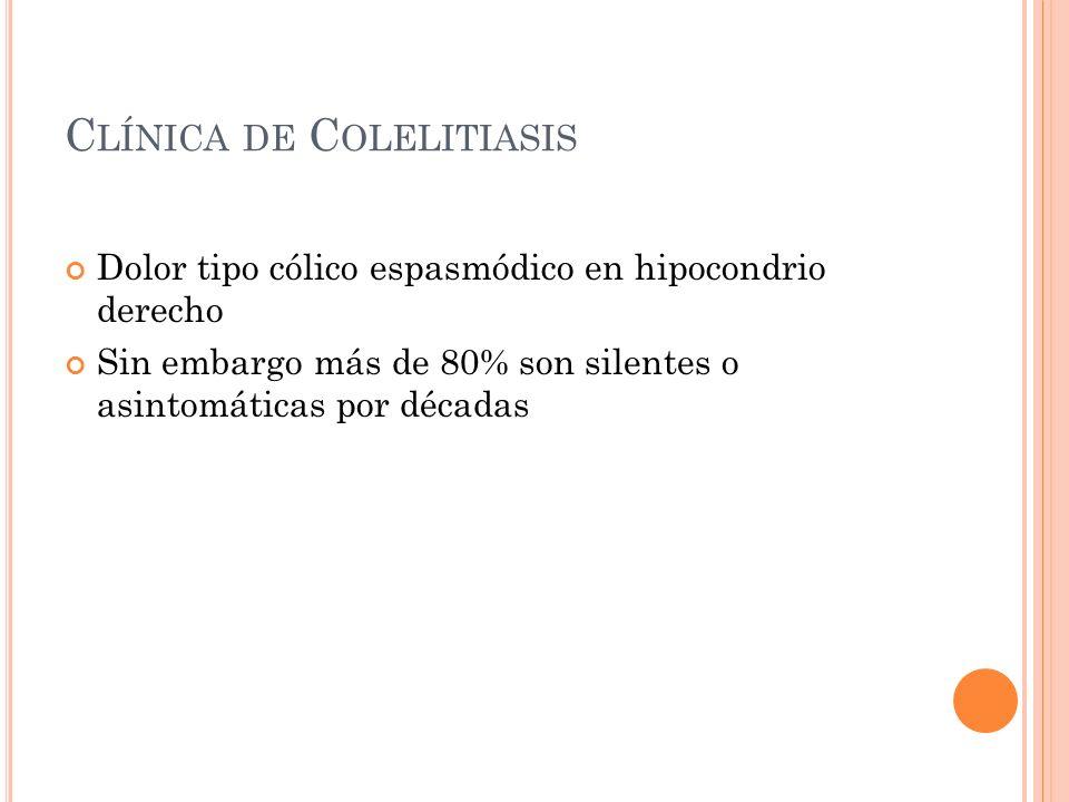 C LÍNICA DE C OLELITIASIS Dolor tipo cólico espasmódico en hipocondrio derecho Sin embargo más de 80% son silentes o asintomáticas por décadas