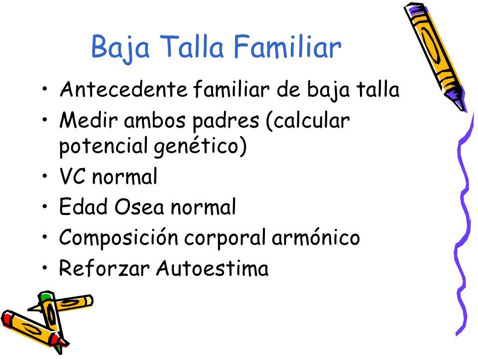 Baja Talla Familiar Antecedente familiar de baja talla Medir ambos padres (calcular potencial genético) VC normal Edad Osea normal Composición corpora