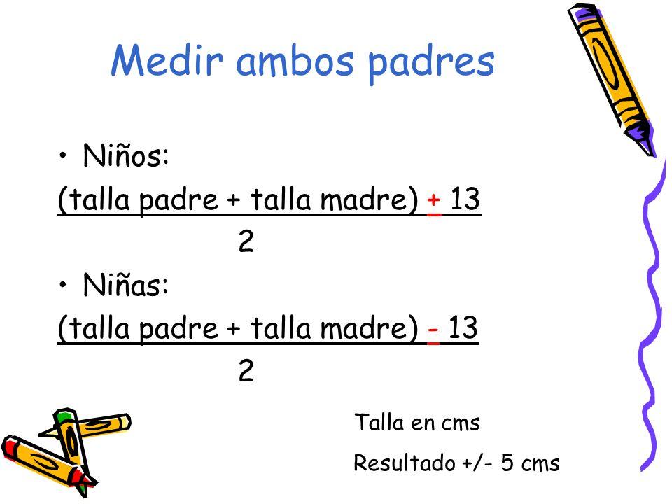 Medir ambos padres Niños: (talla padre + talla madre) + 13 2 Niñas: (talla padre + talla madre) - 13 2 Talla en cms Resultado +/- 5 cms