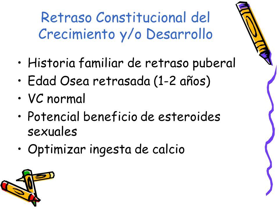 Retraso Constitucional del Crecimiento y/o Desarrollo Historia familiar de retraso puberal Edad Osea retrasada (1-2 años) VC normal Potencial benefici