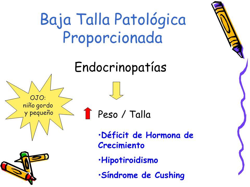 Baja Talla Patológica Proporcionada Endocrinopatías Peso / Talla Déficit de Hormona de Crecimiento Hipotiroidismo Síndrome de Cushing OJO: niño gordo