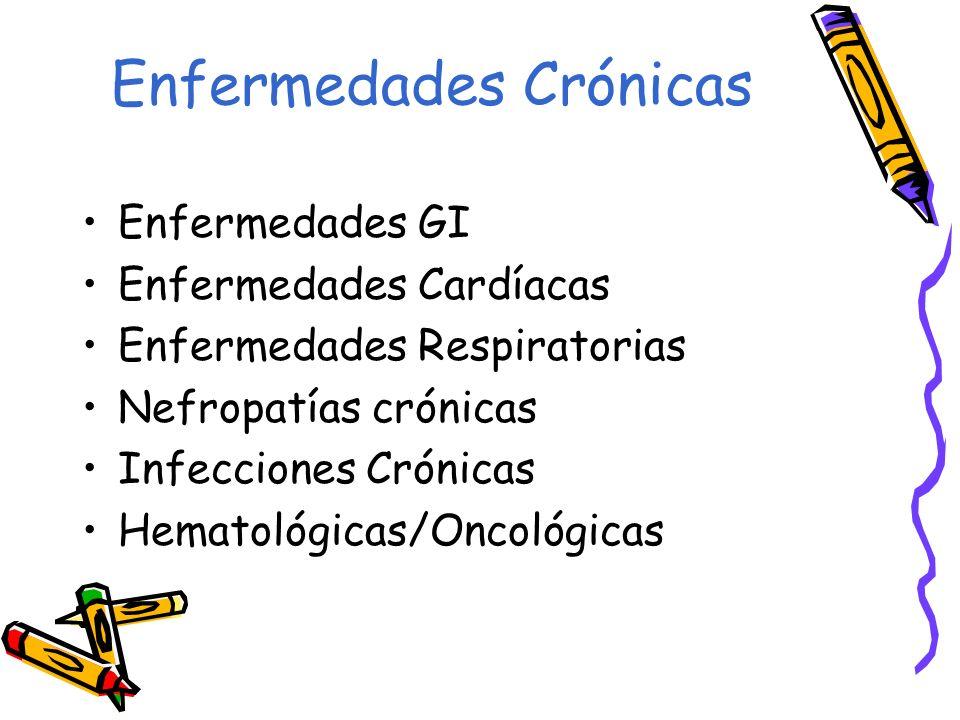 Enfermedades Crónicas Enfermedades GI Enfermedades Cardíacas Enfermedades Respiratorias Nefropatías crónicas Infecciones Crónicas Hematológicas/Oncoló