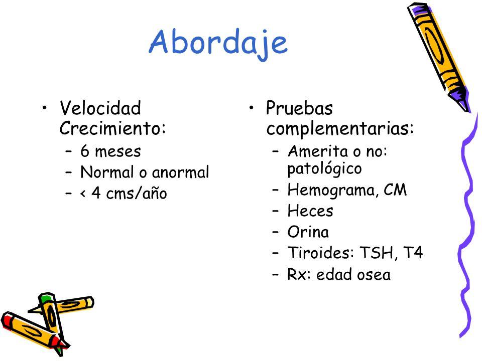 Velocidad Crecimiento: –6 meses –Normal o anormal –< 4 cms/año Pruebas complementarias: –Amerita o no: patológico –Hemograma, CM –Heces –Orina –Tiroid