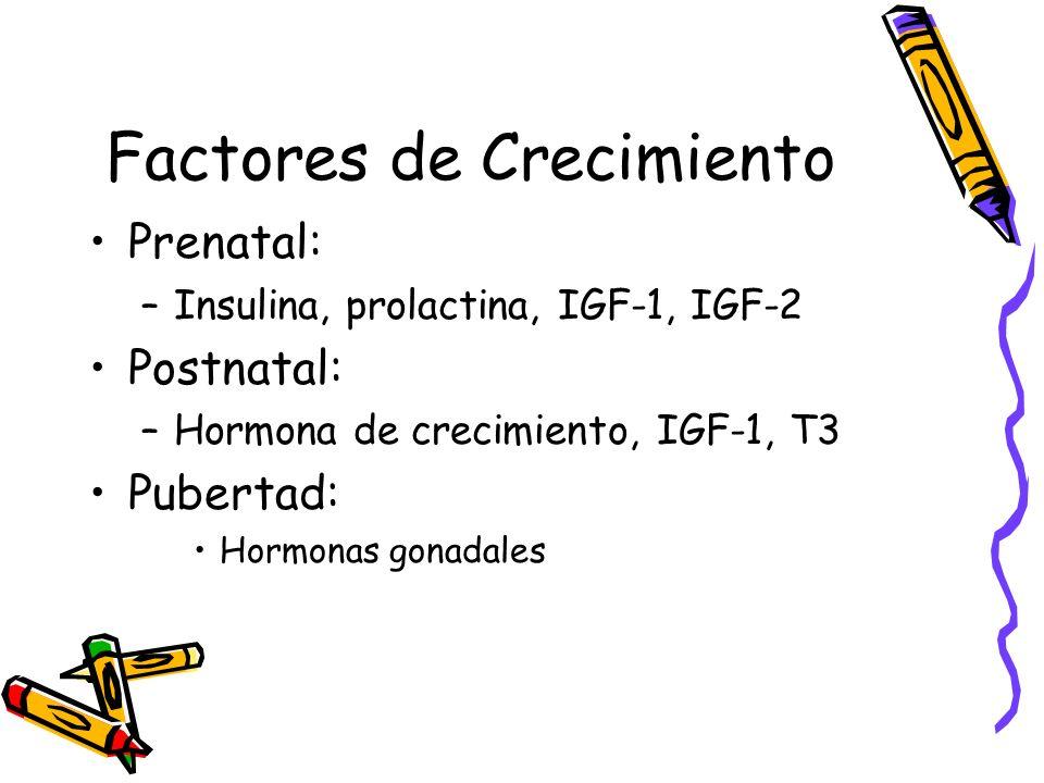 Factores de Crecimiento Prenatal: –Insulina, prolactina, IGF-1, IGF-2 Postnatal: –Hormona de crecimiento, IGF-1, T3 Pubertad: Hormonas gonadales