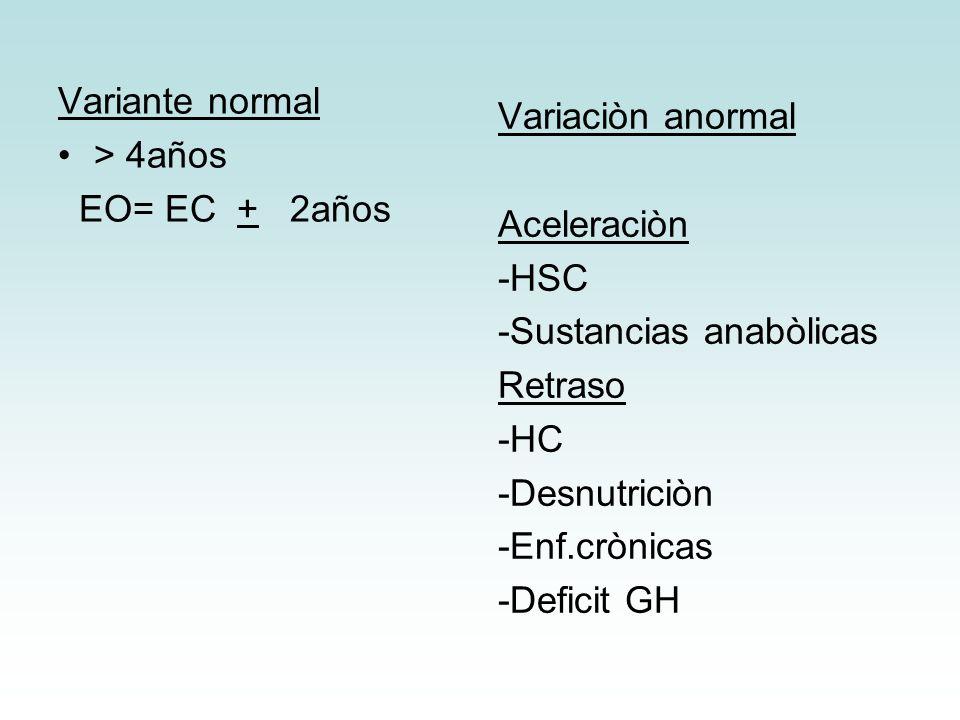Variante normal > 4años EO= EC + 2años Variaciòn anormal Aceleraciòn -HSC -Sustancias anabòlicas Retraso -HC -Desnutriciòn -Enf.crònicas -Deficit GH