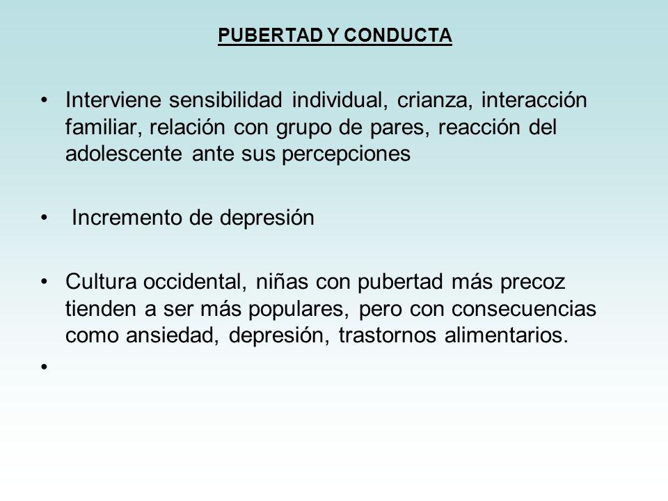 PUBERTAD Y CONDUCTA Interviene sensibilidad individual, crianza, interacción familiar, relación con grupo de pares, reacción del adolescente ante sus