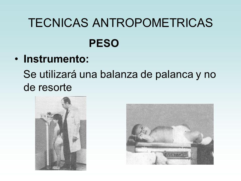 TECNICAS ANTROPOMETRICAS PESO Instrumento: Se utilizará una balanza de palanca y no de resorte