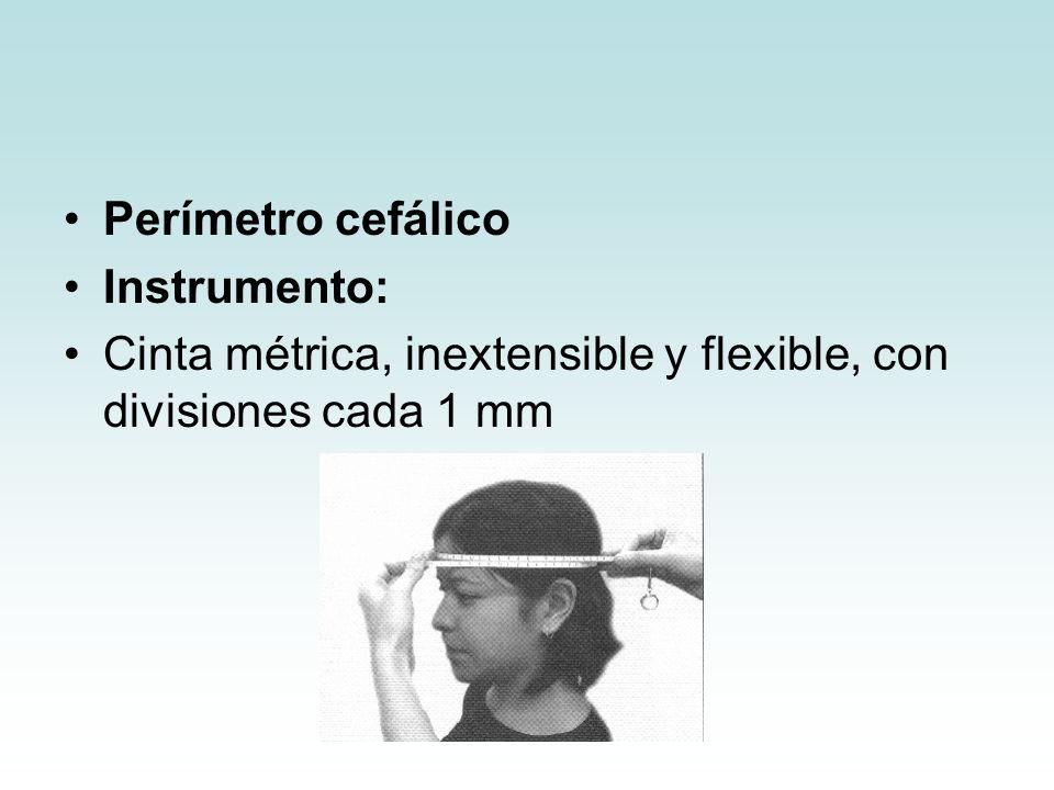 Perímetro cefálico Instrumento: Cinta métrica, inextensible y flexible, con divisiones cada 1 mm