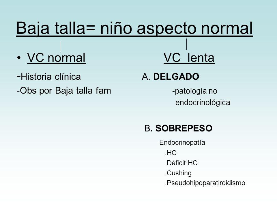 Baja talla= niño aspecto normal VC normal VC lenta - Historia clínica A. DELGADO -Obs por Baja talla fam -patología no endocrinológica B. SOBREPESO -E
