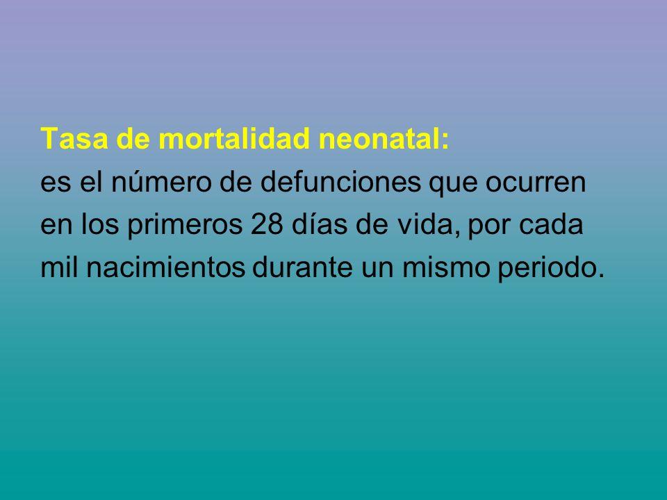 Tasa de mortalidad neonatal: es el número de defunciones que ocurren en los primeros 28 días de vida, por cada mil nacimientos durante un mismo period