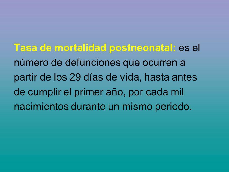 Tasa de mortalidad postneonatal: es el número de defunciones que ocurren a partir de los 29 días de vida, hasta antes de cumplir el primer año, por ca