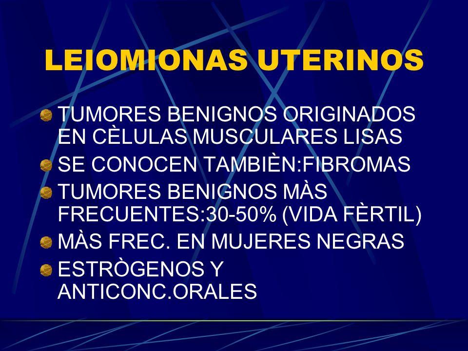 LEIOMIONAS UTERINOS TUMORES BENIGNOS ORIGINADOS EN CÈLULAS MUSCULARES LISAS SE CONOCEN TAMBIÈN:FIBROMAS TUMORES BENIGNOS MÀS FRECUENTES:30-50% (VIDA FÈRTIL) MÀS FREC.