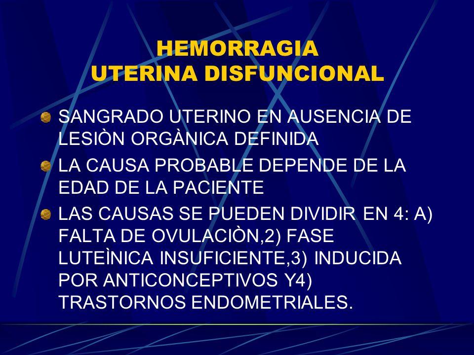 HEMORRAGIA UTERINA DISFUNCIONAL SANGRADO UTERINO EN AUSENCIA DE LESIÒN ORGÀNICA DEFINIDA LA CAUSA PROBABLE DEPENDE DE LA EDAD DE LA PACIENTE LAS CAUSAS SE PUEDEN DIVIDIR EN 4: A) FALTA DE OVULACIÒN,2) FASE LUTEÌNICA INSUFICIENTE,3) INDUCIDA POR ANTICONCEPTIVOS Y4) TRASTORNOS ENDOMETRIALES.