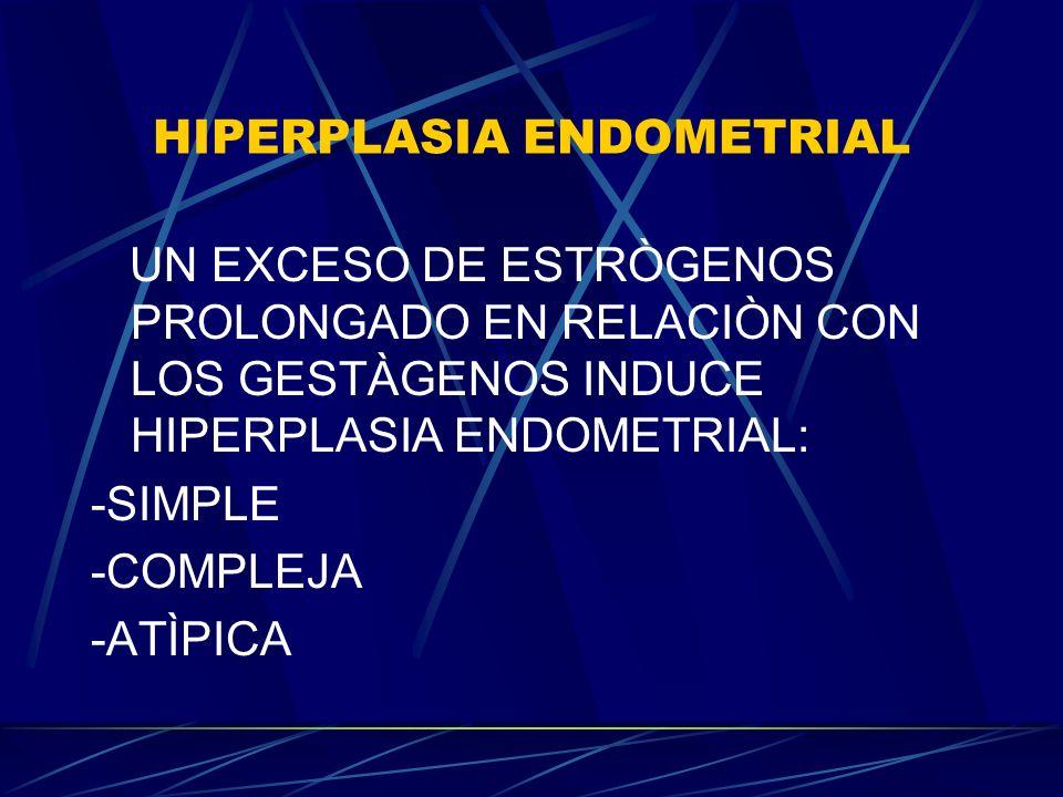 HIPERPLASIA ENDOMETRIAL UN EXCESO DE ESTRÒGENOS PROLONGADO EN RELACIÒN CON LOS GESTÀGENOS INDUCE HIPERPLASIA ENDOMETRIAL: -SIMPLE -COMPLEJA -ATÌPICA