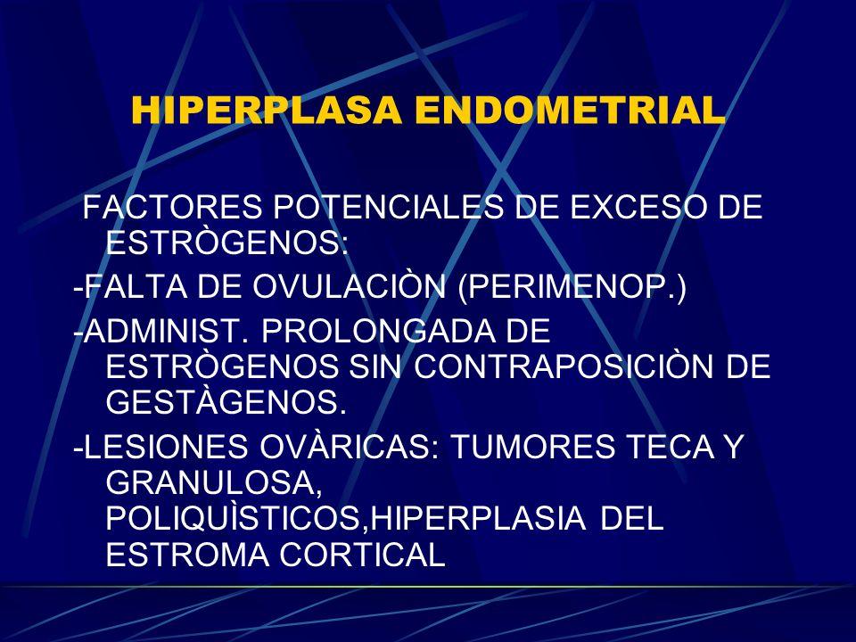 HIPERPLASA ENDOMETRIAL FACTORES POTENCIALES DE EXCESO DE ESTRÒGENOS: -FALTA DE OVULACIÒN (PERIMENOP.) -ADMINIST. PROLONGADA DE ESTRÒGENOS SIN CONTRAPO