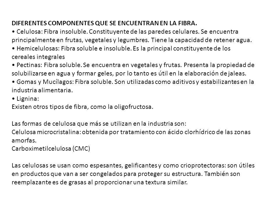 DIFERENTES COMPONENTES QUE SE ENCUENTRAN EN LA FIBRA. Celulosa: Fibra insoluble. Constituyente de las paredes celulares. Se encuentra principalmente e