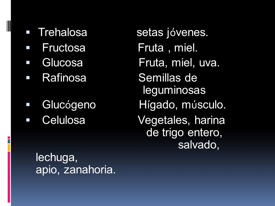 Carbohidratos de interés biológico Glucido Fuente t í pica Amilopectina Papas, arroz, ma í z, pan. Amilosa Papas, arroz, ma í z, pan. Sacarosa Az ú ca