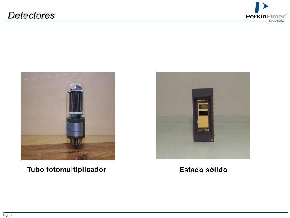 Page 10 Detectores Tubo fotomultiplicador Estado sólido