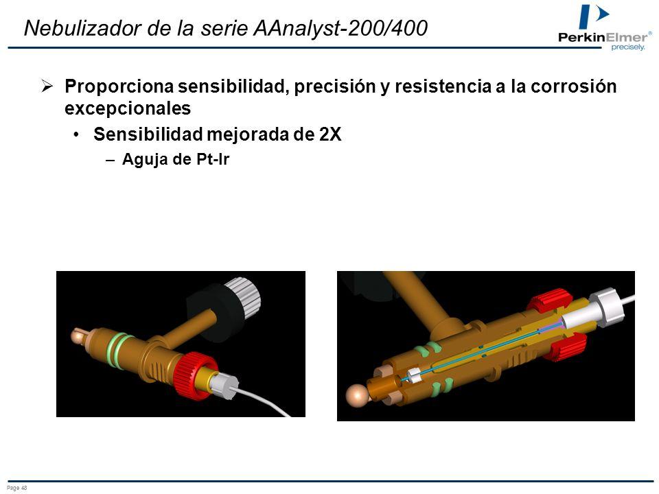 Page 48 Nebulizador de la serie AAnalyst-200/400 Proporciona sensibilidad, precisión y resistencia a la corrosión excepcionales Sensibilidad mejorada de 2X –Aguja de Pt-Ir