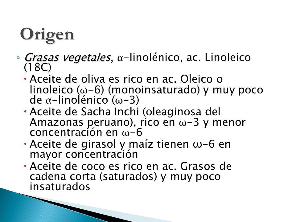 Grasas vegetales Grasas vegetales, α -linolénico, ac. Linoleico (18C) Aceite de oliva es rico en ac. Oleico o linoleico ( ω -6) (monoinsaturado) y muy