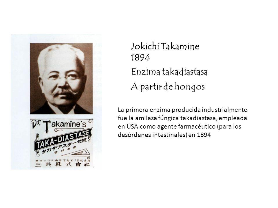 Jokichi Takamine 1894 Enzima takadiastasa A partir de hongos La primera enzima producida industrialmente fue la amilasa fúngica takadiastasa, empleada