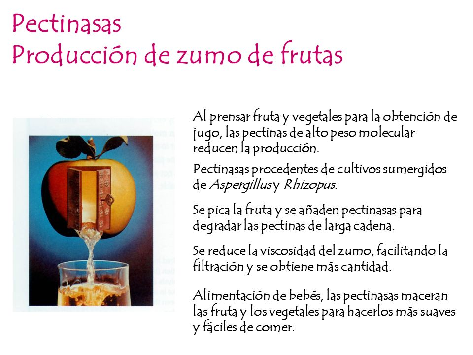 Pectinasas Producción de zumo de frutas Al prensar fruta y vegetales para la obtención de jugo, las pectinas de alto peso molecular reducen la producc