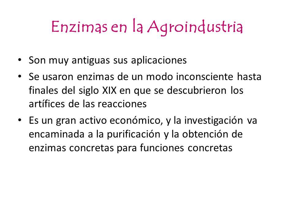 Enzimas en la Agroindustria Son muy antiguas sus aplicaciones Se usaron enzimas de un modo inconsciente hasta finales del siglo XIX en que se descubri
