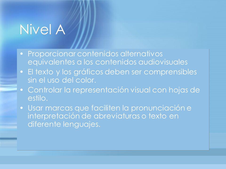 Nivel A Proporcionar contenidos alternativos equivalentes a los contenidos audiovisuales El texto y los gráficos deben ser comprensibles sin el uso del color.
