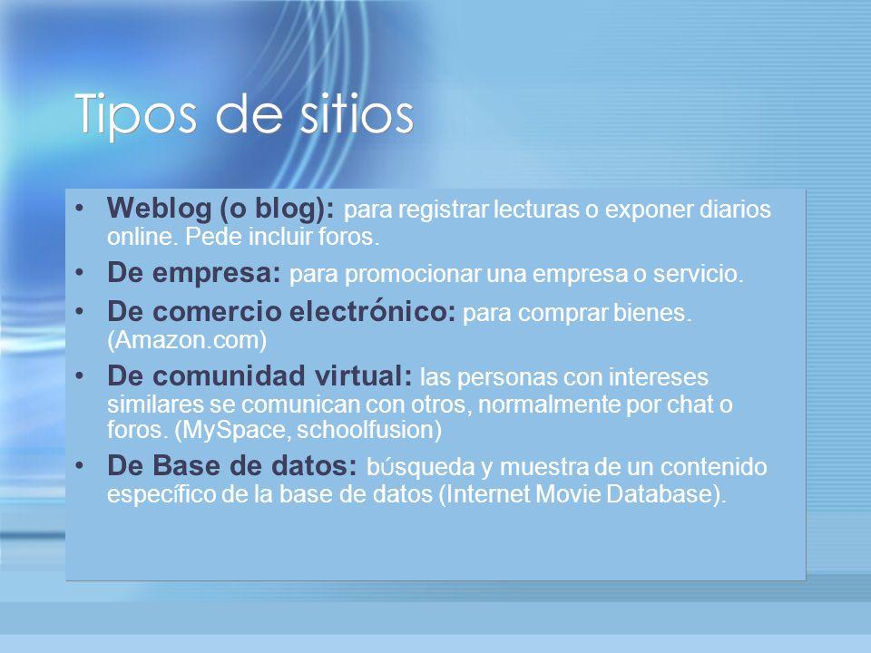 Tipos de sitios Weblog (o blog): para registrar lecturas o exponer diarios online.