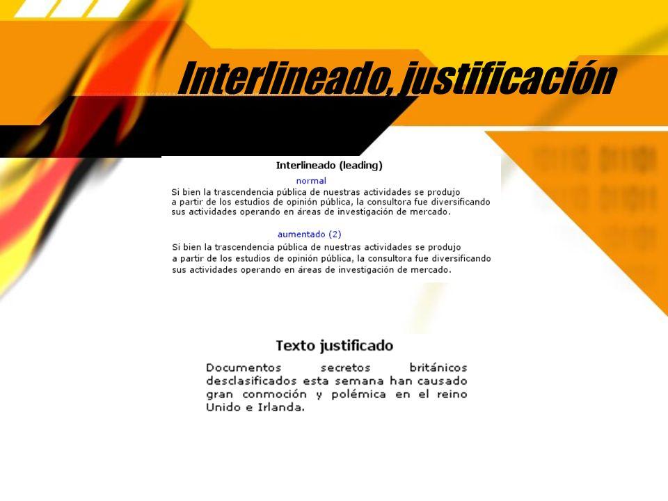 Interlineado, justificación