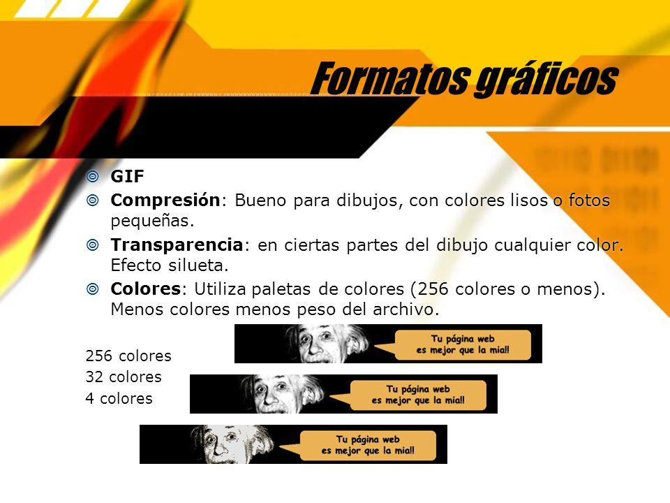 Formatos gráficos GIF Compresi ó n: Bueno para dibujos, con colores lisos o fotos peque ñ as. Transparencia: en ciertas partes del dibujo cualquier co