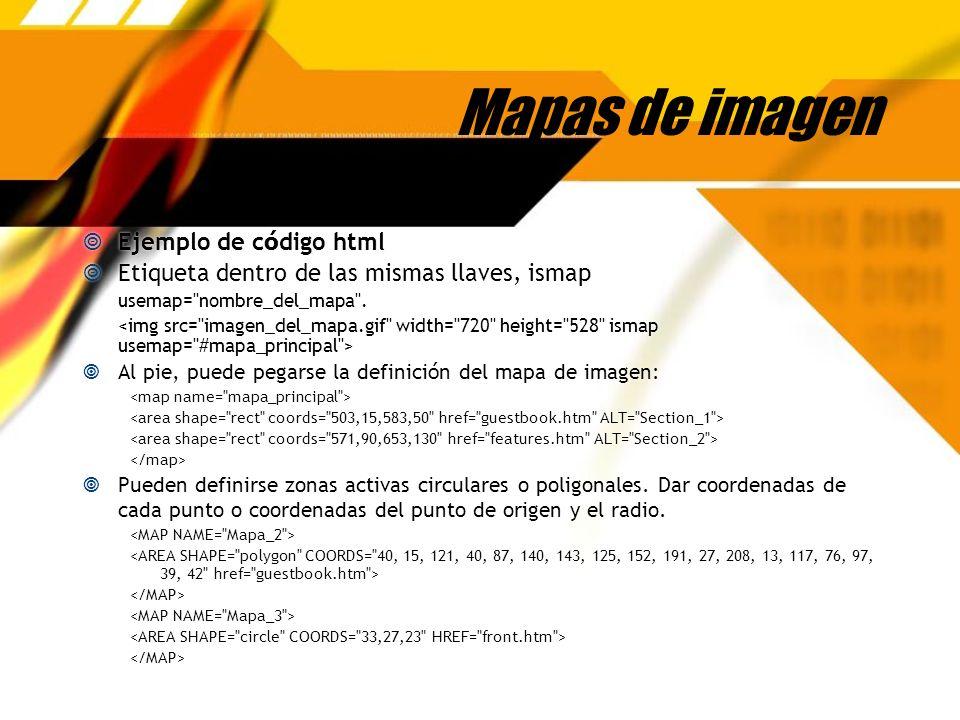 Mapas de imagen Ejemplo de c ó digo html Etiqueta dentro de las mismas llaves, ismap usemap=