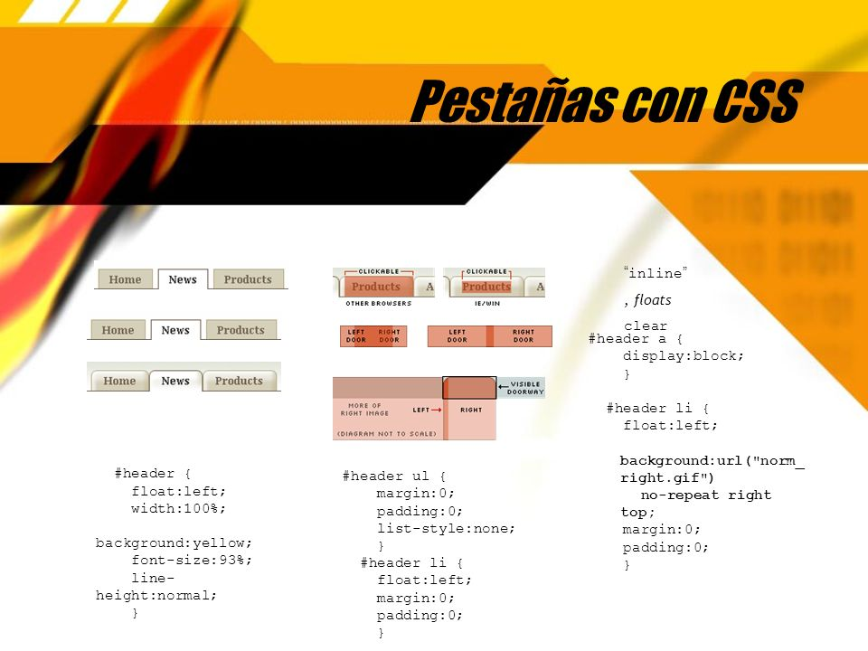 Pestañas con CSS inline, floats clear #header { float:left; width:100%; background:yellow; font-size:93%; line- height:normal; } #header ul { margin:0; padding:0; list-style:none; } #header li { float:left; margin:0; padding:0; } #header a { display:block; } #header li { float:left; background:url( norm_ right.gif ) no-repeat right top; margin:0; padding:0; } #header a { display:block; } #header li { float:left; background:url( norm_ right.gif ) no-repeat right top; margin:0; padding:0; }