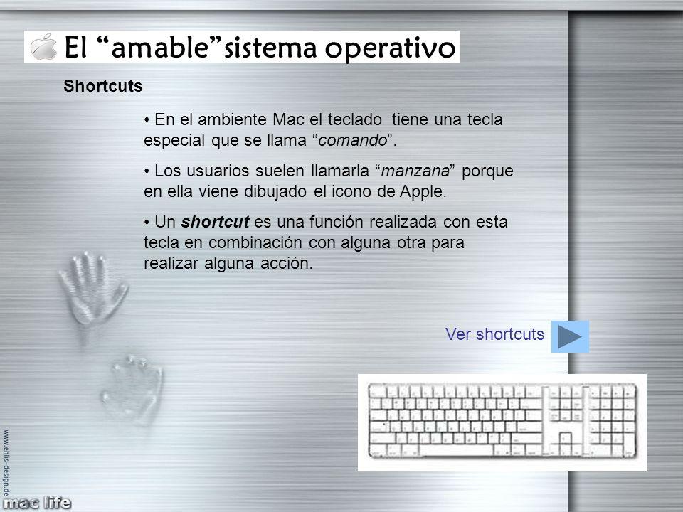 El amablesistema operativo Shortcuts En el ambiente Mac el teclado tiene una tecla especial que se llama comando. Los usuarios suelen llamarla manzana