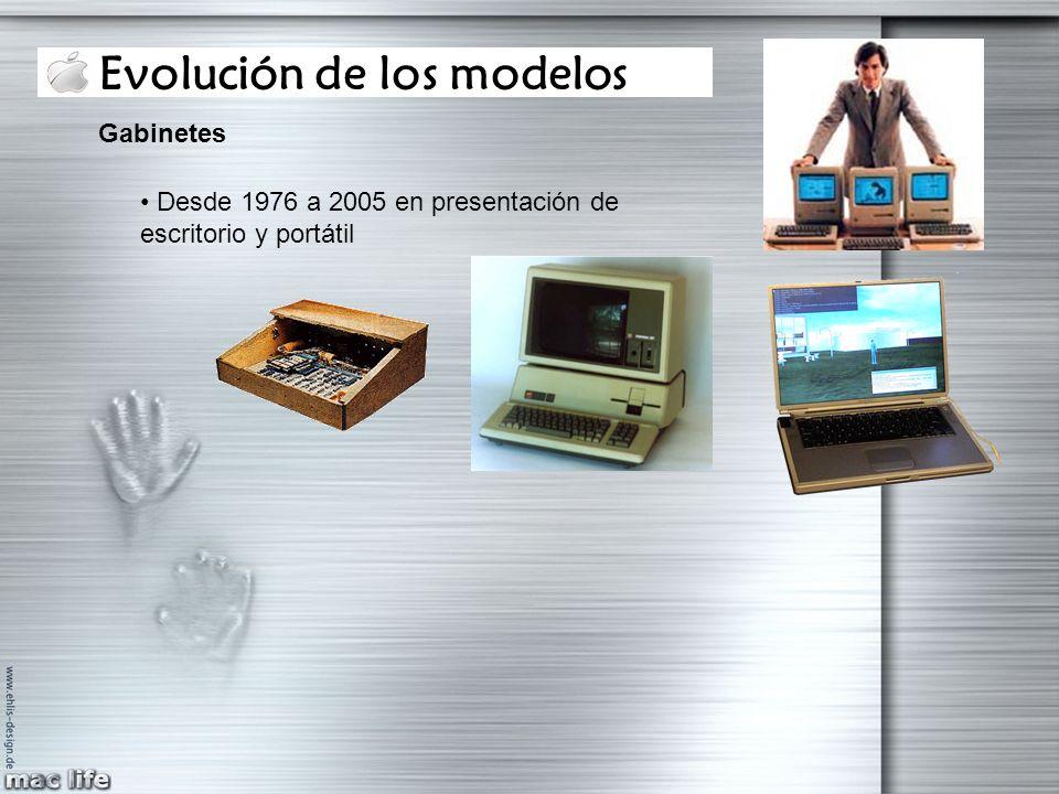 Evolución de los modelos Gabinetes Desde 1976 a 2005 en presentación de escritorio y portátil
