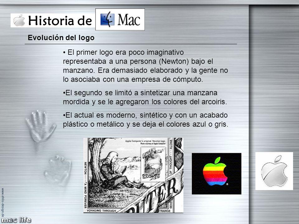 Historia de Mac Evolución del logo El primer logo era poco imaginativo representaba a una persona (Newton) bajo el manzano. Era demasiado elaborado y