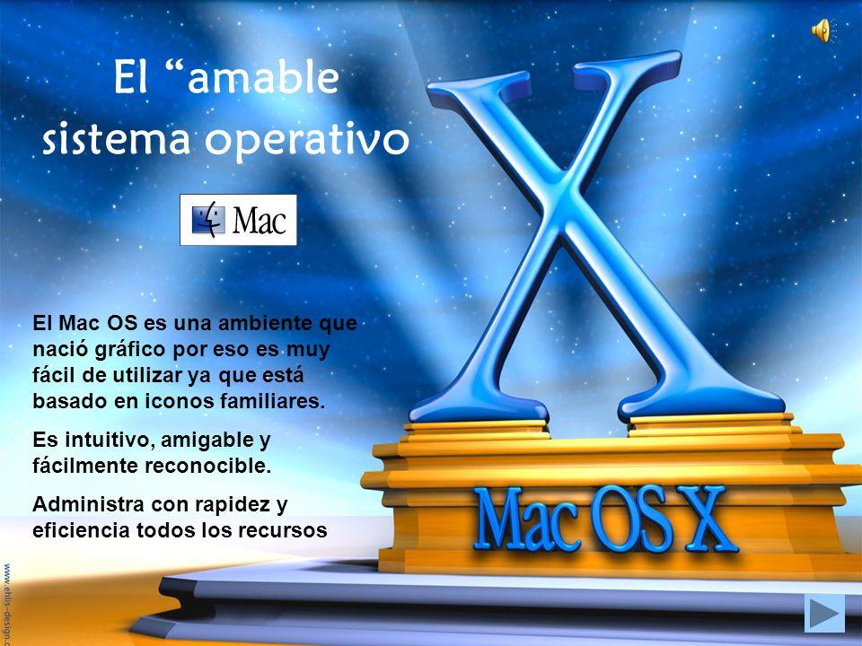 El amable sistema operativo El Mac OS es una ambiente que nació gráfico por eso es muy fácil de utilizar ya que está basado en iconos familiares. Es i