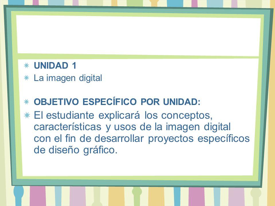 UNIDAD 1 La imagen digital OBJETIVO ESPECÍFICO POR UNIDAD: El estudiante explicará los conceptos, características y usos de la imagen digital con el f