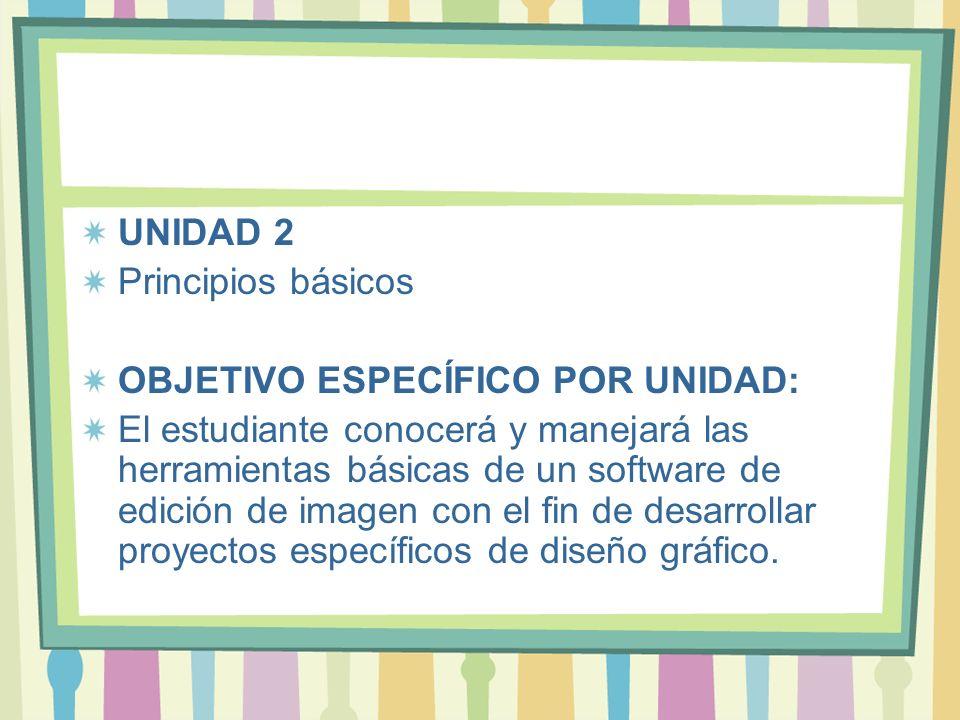 UNIDAD 2 Principios básicos OBJETIVO ESPECÍFICO POR UNIDAD: El estudiante conocerá y manejará las herramientas básicas de un software de edición de im