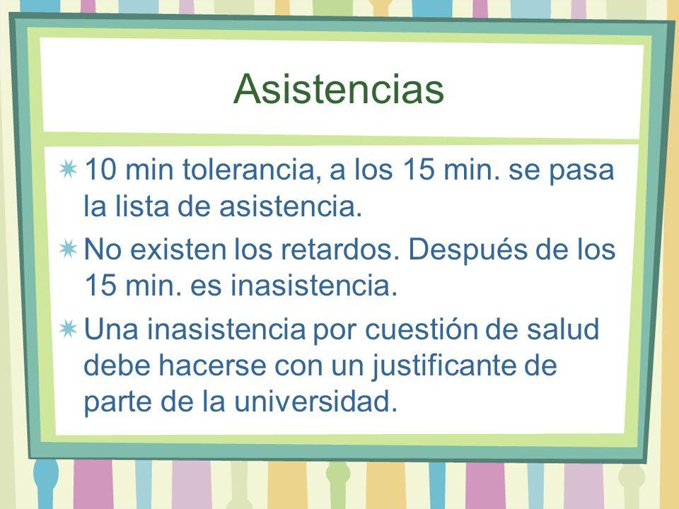 Asistencias 10 min tolerancia, a los 15 min. se pasa la lista de asistencia. No existen los retardos. Después de los 15 min. es inasistencia. Una inas