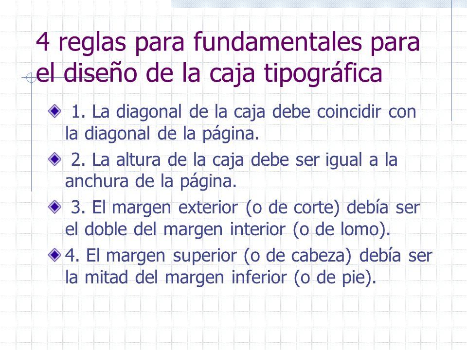 4 reglas para fundamentales para el diseño de la caja tipográfica 1. La diagonal de la caja debe coincidir con la diagonal de la página. 2. La altura