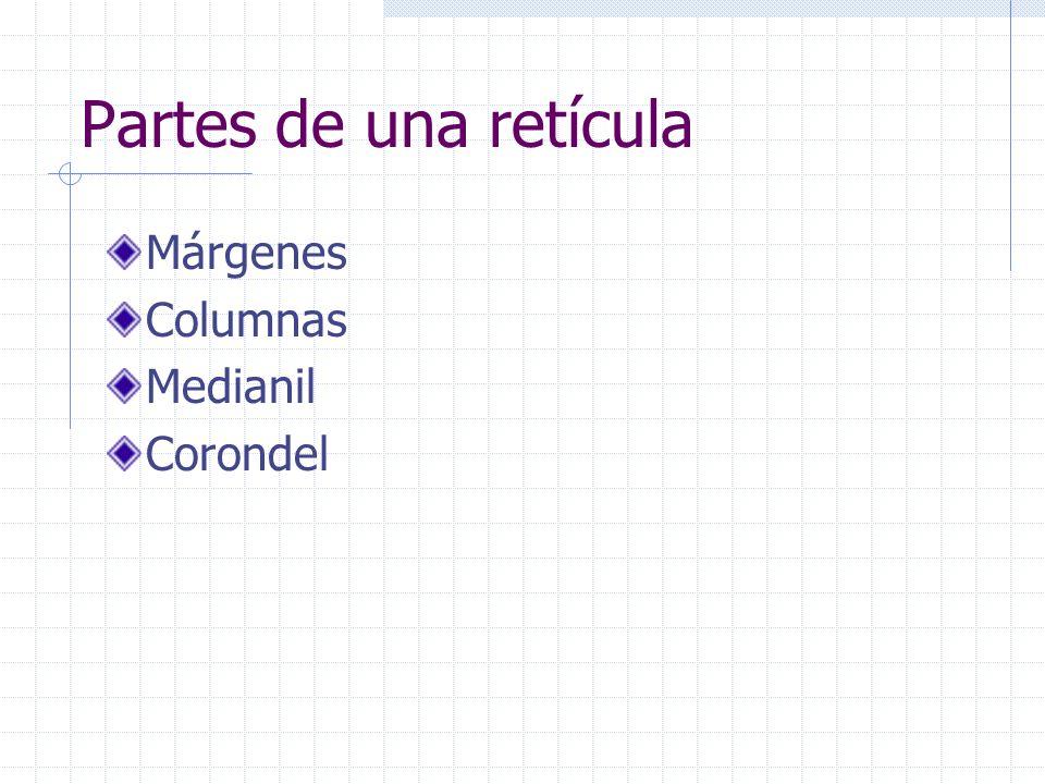 Partes de una retícula Márgenes Columnas Medianil Corondel