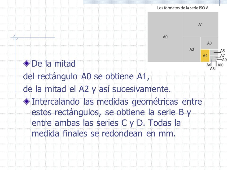 Lado menor de A2= 0.420, lado mayor=0.594 Lado menor de A3= 0.297, lado mayor=0.420 Lado menor de B3= 0.353, lado mayor=0.5 En mucho países se fabrican con excedentes de 20mm.