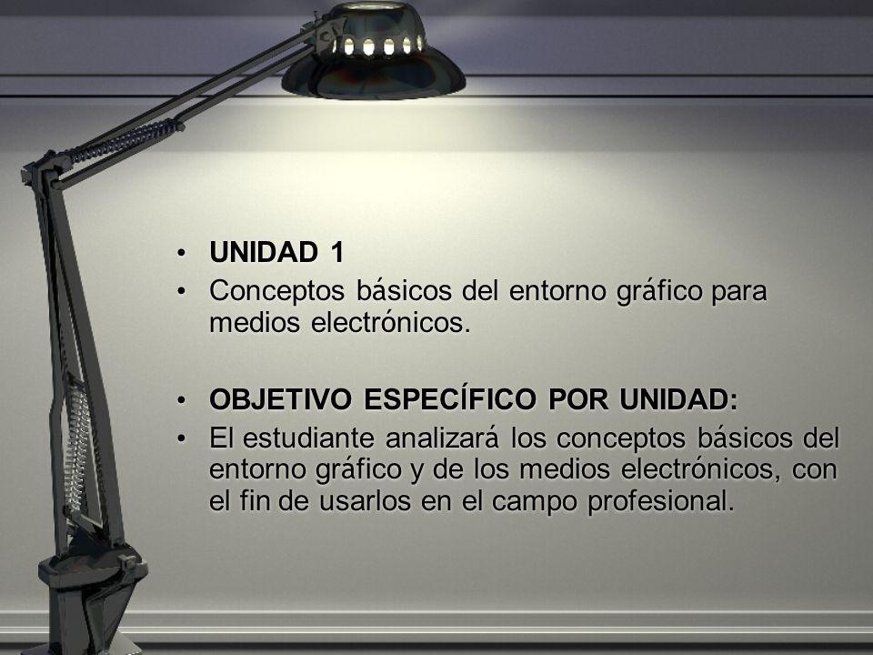 UNIDAD 1 Conceptos b á sicos del entorno gr á fico para medios electr ó nicos. OBJETIVO ESPEC Í FICO POR UNIDAD: El estudiante analizar á los concepto