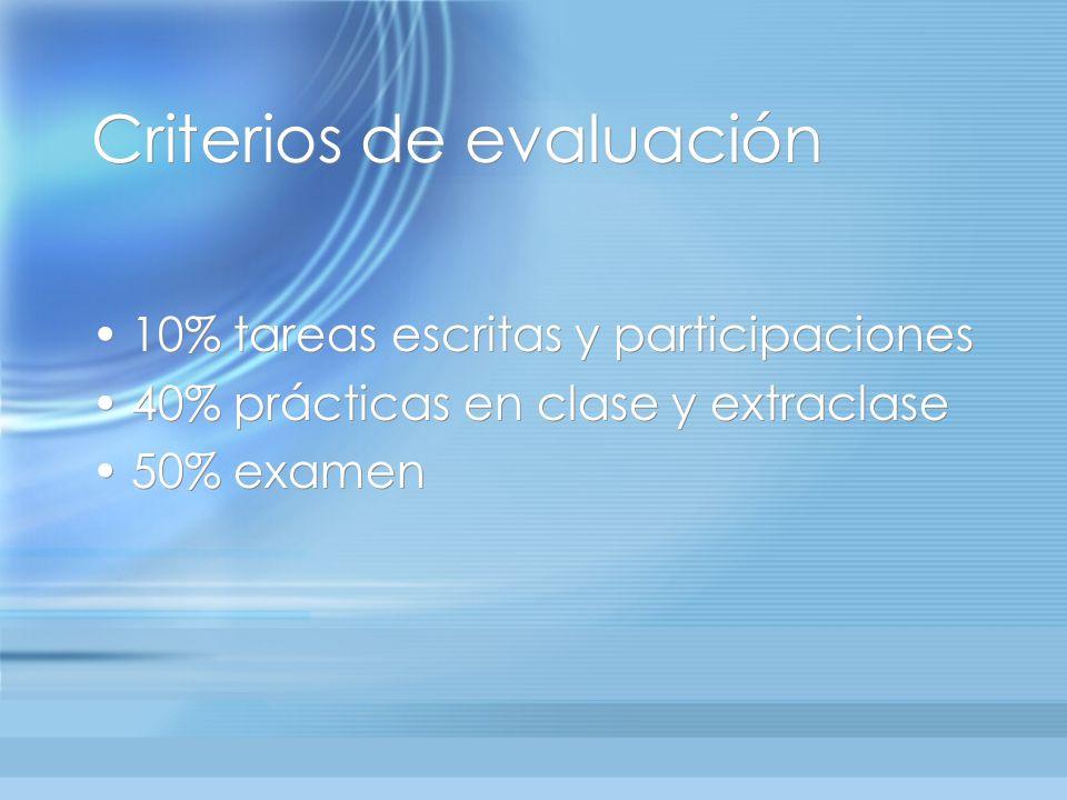 Criterios de evaluación 10% tareas escritas y participaciones 40% prácticas en clase y extraclase 50% examen 10% tareas escritas y participaciones 40% prácticas en clase y extraclase 50% examen