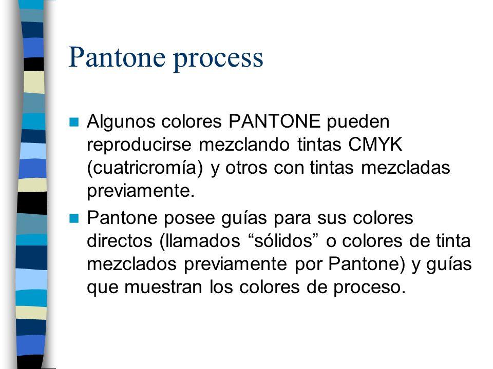 Pantone process Algunos colores PANTONE pueden reproducirse mezclando tintas CMYK (cuatricromía) y otros con tintas mezcladas previamente. Pantone pos
