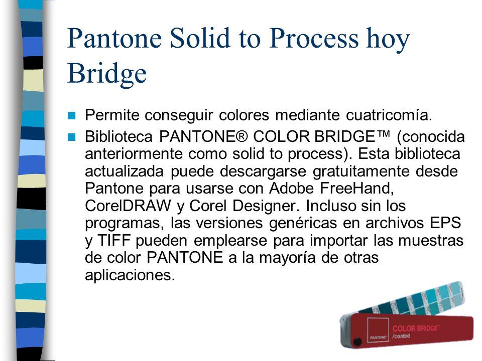 Bridge es una comparación entre los colores directos Pantone y el color más parecido a ellas producido mediante cuatricromía (CMYK).