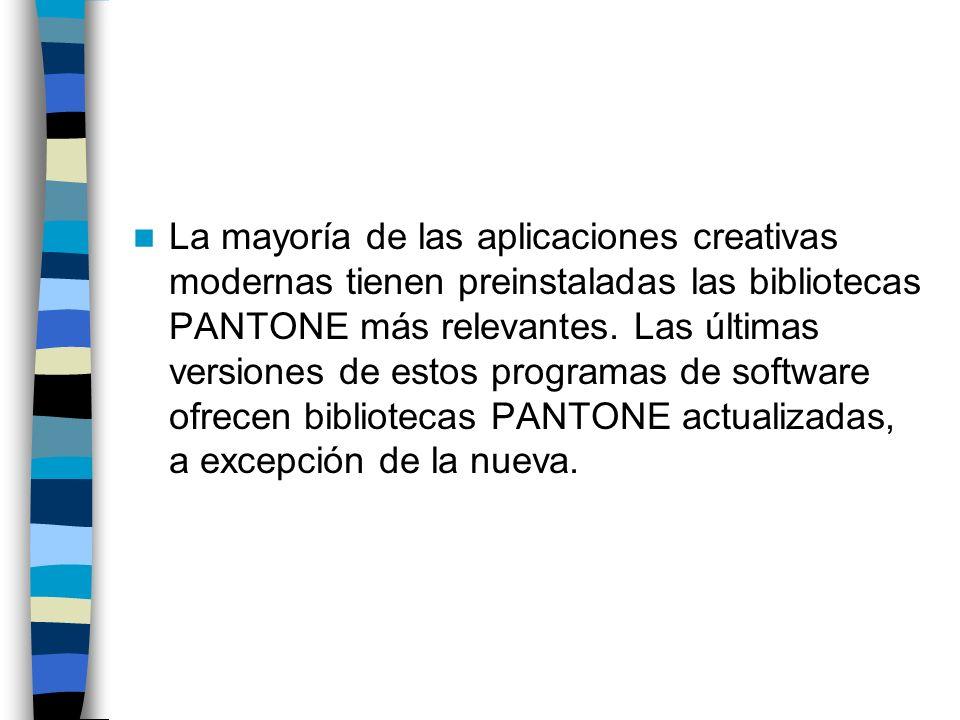 La mayoría de las aplicaciones creativas modernas tienen preinstaladas las bibliotecas PANTONE más relevantes. Las últimas versiones de estos programa