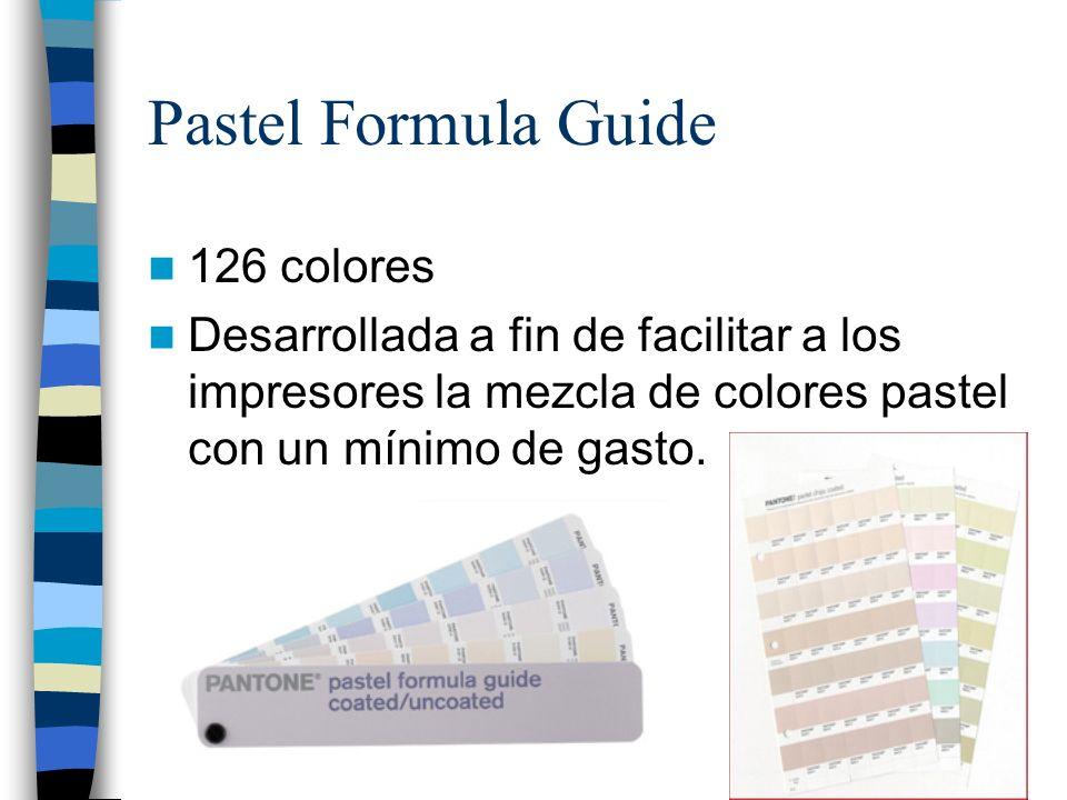 Pastel Formula Guide 126 colores Desarrollada a fin de facilitar a los impresores la mezcla de colores pastel con un mínimo de gasto.